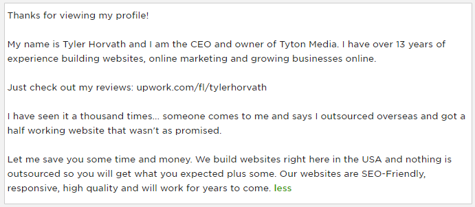 tyler horvath upwork profile description